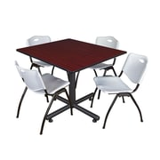 Regency 48-inch Square Table with Stacker Chairs, Gray