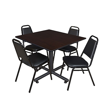 Regency 48-inch Square Laminate Table & 4 Restaurant Stack Chairs, Mocha Walnut