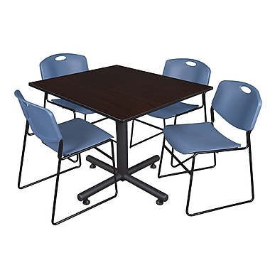 Regency 48-inch Square Mocha Walnut Table with Zeng Stacker Chairs, Blue