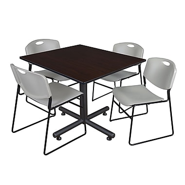 Regency 48-inch Square Mocha Walnut Table with Zeng Stacker Chairs, Gray