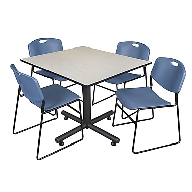 Regency 48-inch Square Maple Table with Zeng Stacker Chairs, Blue