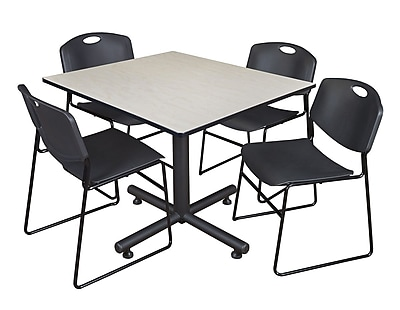 Regency 48-inch Square Maple Table with Zeng Stacker Chairs, Black