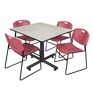 Regency 48-inch Square Maple Table with Zeng Stacker Chairs, Burgundy