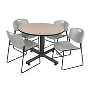 "Regency Kobe 48"" Round Break Room Table, Beige and 4 Zeng Stack Chairs, Gray (TKB48RNDBE44GY)"