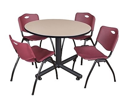 Regency 48-inch Round Table, Burgundy