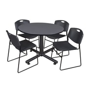 "Regency Kobe 48"" Round Break Room Table, Gray and 4 Zeng Stack Chairs, Black (TKB48RNDGY44BK)"