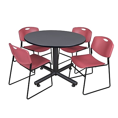 Regency 48-inch Round Gray Table with Zeng Stacker Chairs, Burgundy