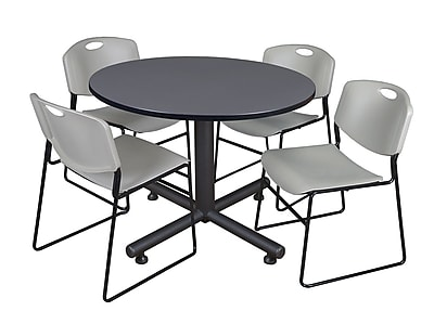 Regency 48-inch Round Gray Table with Zeng Stacker Chairs, Gray