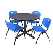 Regency 48-inch Round Gray Table with M Stacker Chairs, Blue