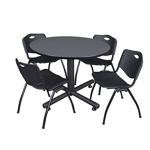 "Regency Kobe Breakroom Table, 48""W, Gray & 4 'M' Stack Chairs, Black (TKB48RNDGY47BK)"