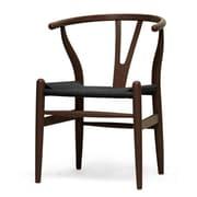 Wholesale Interiors Baxton Studio Wishbone Solid Wood Dining Chair; Dark Brown with Black Seat