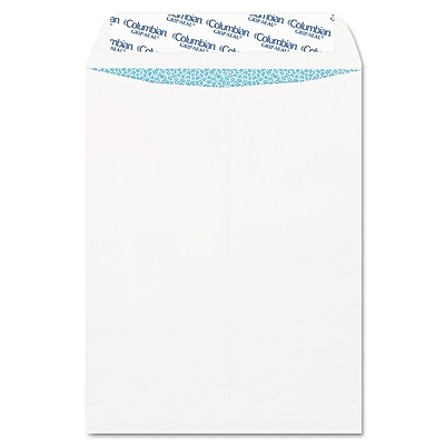 Columbian® Grip-Seal® Security Tinted All-Purpose Catalog Envelope, White, 9 x 12, 100/Box (CO926)