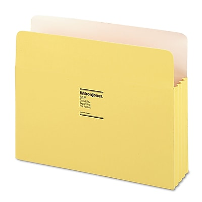 Wilson Jones® ColorLife® Expanding File Pockets, Yellow, Letter, 25/Pack (64Y)