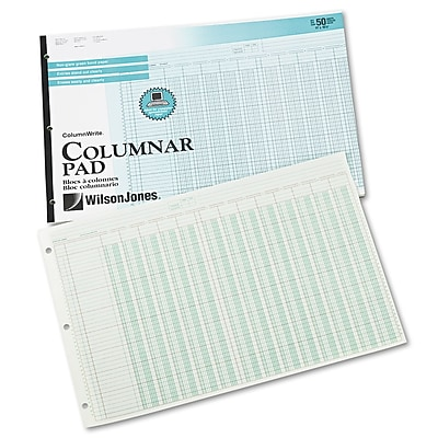 Wilson Jones® Column Write® Side Bound Columnar Pad, 10.8
