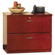 "Mayline Group Mira Veneer Series Lateral File, 2-Drawer, Medium Cherry, 29 1/2""H x 72""W x 24""D"