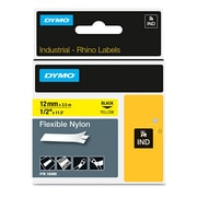 "DYMO® Rhino Industrial Label Cartridges, 1/2"" x 11 1/2 ft., Black, 11/Roll (18490)"