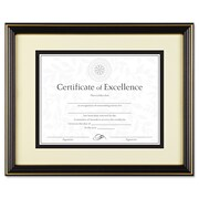 DAX® Gold-Trimmed Document Frame, Plastic, 11 x 14 matted to 8 1/2 x 11, Black/Gold, Each (N2706S6T)