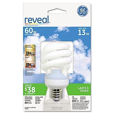 GE Energy Smart® Compact Fluorescent Spiral Light Bulb, 13 W, Reveal, Spiral, Each (75406)