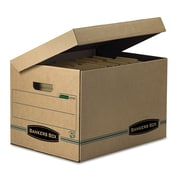 Bankers Box Systematic Basic-Duty 100% Recycled Storage Boxes with Attached Flip-Top Lid, Letter/Legal, 12/Ct (12772)