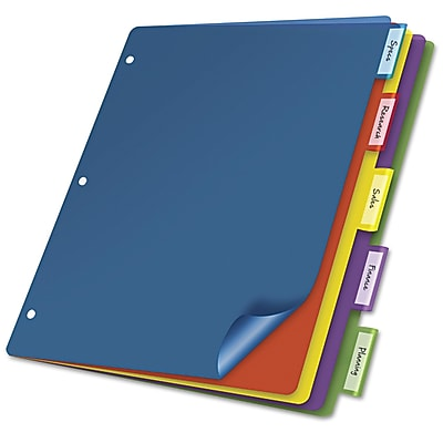 Cardinal® Poly Index Dividers, Poly, Multicolor, 11 x 8 1/2, 5-Tab, 4/Pack (84018)