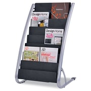 "Alba Literature Floor Display Rack, 13 1/3"" x 19 2/3"" x 36 2/3"", Silver Gray/Black, Each (DDEXPO8)"