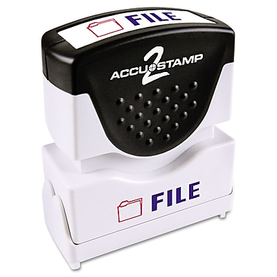 Accu-Stamp2® Two-Color Pre-Inked Shutter Message Stamp, FILE, 1/2