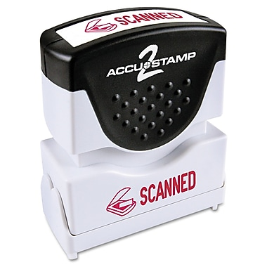Accu-Stamp2® One-Color Pre-Inked Shutter Message Stamp, SCANNED, 1/2