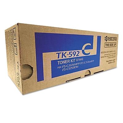 Kyocera TK592C Toner, 5,000 Page-Yield, Cyan