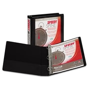 Samsill Speedy Spine™ Time Saving / Easy Spine Label Inserting 3 Ring View Binder, 1.5 Inch D-Ring, Black (SAM19150C)