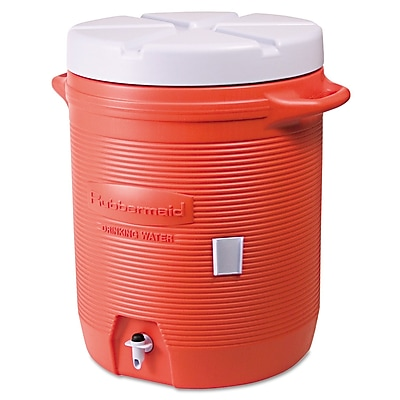 Rubbermaid® Commercial Insulated Beverage Container, 10 gal, 16 in-Diameter, Polyethylene, Orange/White, Each (325-1610-01-11)