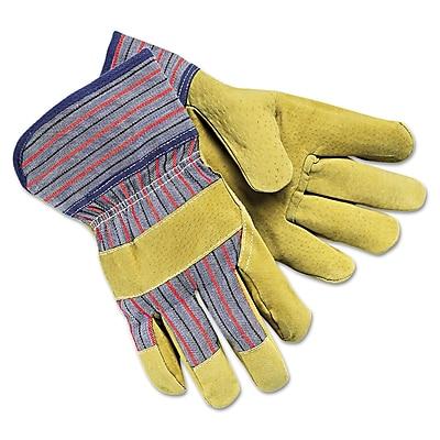 Memphis™ Grain-Leather-Palm Gloves 1950L, Large, Pair, Red/Blue Striped/Tan, 1/Dozen (127-1950L)