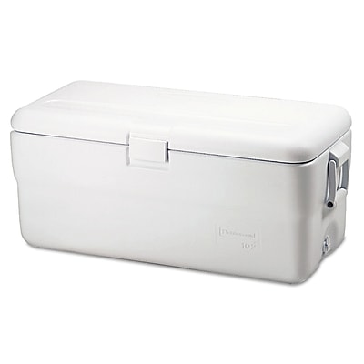 Rubbermaid® Marine Series Ice Chest FG198200TRWHT, 102 qts, Plastic, White, Each (325-FG198200TRWHT)