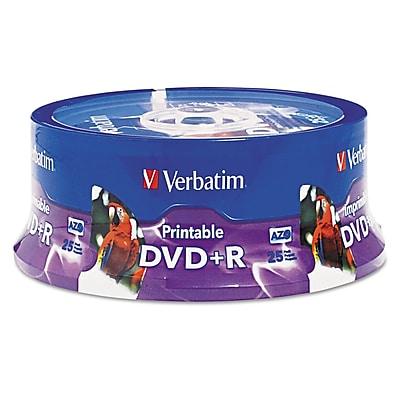 Verbatim® DVD+R Disc, 4.7 GB, Spindle, 25/Pack (96190)