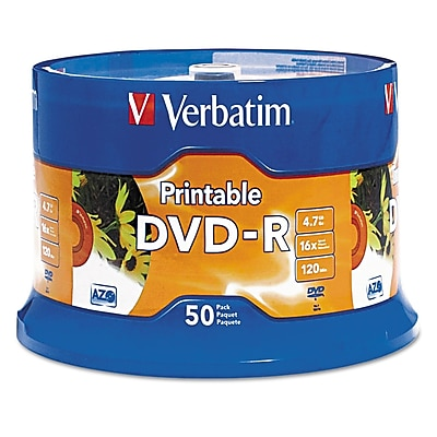 Verbatim® DVD-R Recordable Disc, 4.7 GB, Spindle, 50/Pack (95137)