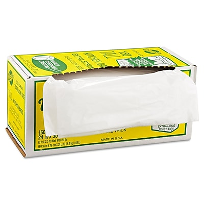 Warp's® Industrial Strength Flex-O-Bags® Trash Can Liners Trash Bags, 1.25 mil Thickness, White, 13 gal, 150/Carton
