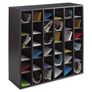 "Safco® Wood Mail Sorters, 36-Compartment, Black, 32 3/4""H x 33 3/4""W x 12""D"