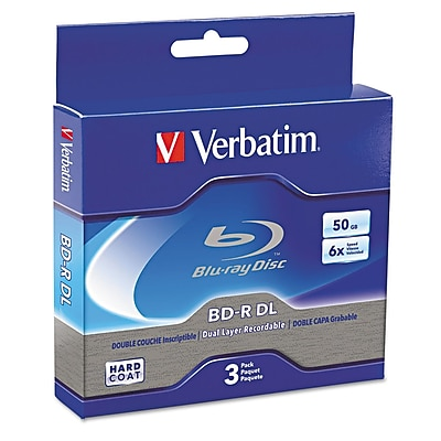 Verbatim Blu-Ray BD-R Recordable Dual-Layer Disc, 50 GB, Jewel Case, 3/Pack (VER97237) VER97237