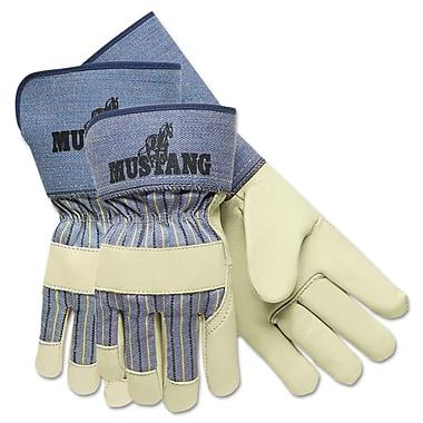 Memphis™ Grain-Leather-Palm Gloves 1936M, Medium, Pair, Blue Striped/White, 1/Dozen (127-1936M)