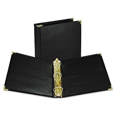 Samsill Classic Collection Executive Presentation 3 Ring Binder, 2 Inch Brass Round Ring, Black (SAM15160)