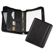 "Samsill® Professional Zipper Binder with iPad Pocket, Leather-Like, 11 1/4"" x 3"" x 13 1/2"", Black (15650)"