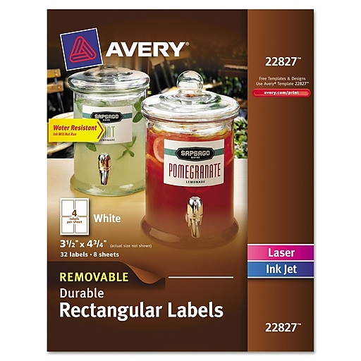 avery removable rectangle durable labels with trueblock technology