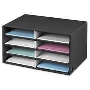 "Bankers Box® Decorative Literature Sorter, 19 1/2"" x 12 3/8"" x 10 1/4"", Black/Gray Pinstripe, Each (FEL6170301)"