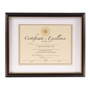 DAX® Cambridge Document Frame, Wood, 11 x 14 matted to 8 1/2 x 11, Black/Rosewood, Each (N2702S4T)