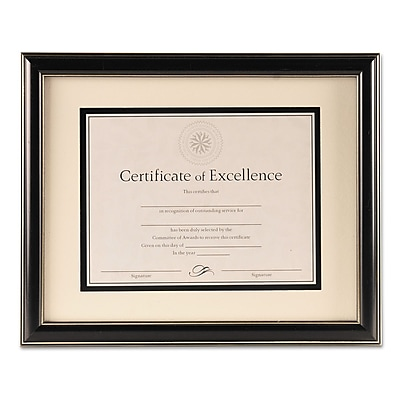 DAX Office Solutions Document Frame, Plastic, 11 x 14 matted to 8 1/2 x 11, Black, Each (N2704S1T)