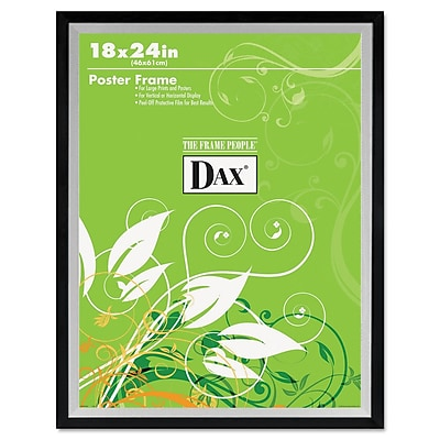 DAX® Metro Series Poster Frame, Plastic, 18 x 24, Black/Silver, Each (3404W1T)