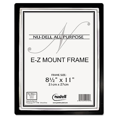 NuDell™ EZ Mount II Document Frame, Plastic, 8 1/2 x 11, Black/Silver Trim, Each (13880)