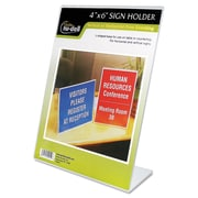 """NuDell™ Clear Plastic Sign Holders, Customizable, 4"""" x 7"""", Plastic, Clear, Each (35446)"""