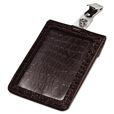 Advantus Croc-Textured Badge Holder, Black, 2 1/2