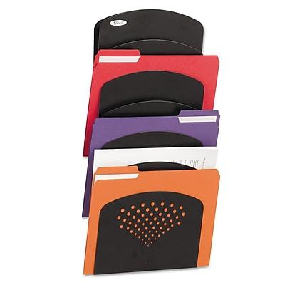 Safco Steel Wall Rack, Letter/Legal, 7 Pockets, Black, 9-1/2