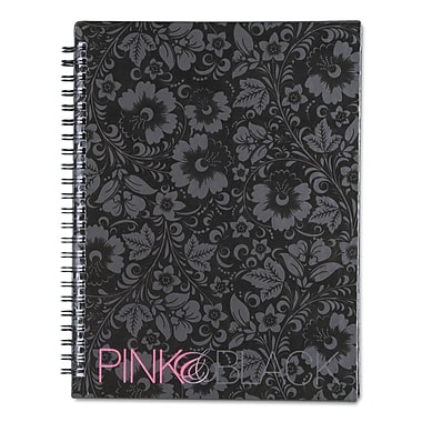 Pink & Black™ Notebook, Black/Pink/Floral, 1-Subjects, 6 1/4 x 8 1/4, Each (400015933)